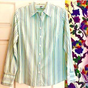 J. Crew Aqua Blue Striped Button Down Shirt